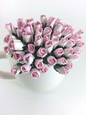 25 Mini Pink White Roses Bud Mulberry Paper Flowers Wedding Card Scrapbook