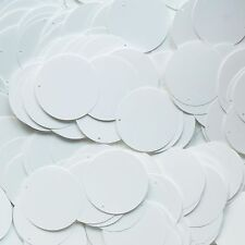 30mm Round Flat Sequin Paillettes ~  Opaque White Glossy Go Go ~ Made in USA