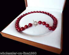 Rare Huge 12mm Genuine South Sea Coral Red Shell Pearl Necklace 18''