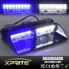16 LED 18W Windshield Emergency Flash Strobe Light For Interior Dash White Blue