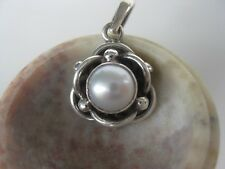 Pearl Silver Pendant ~ Nepal .925 sterling knot artwork