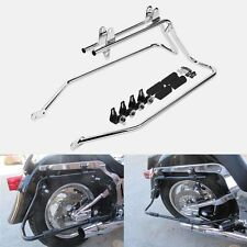 Chrome Saddlebag Saddle bag Conversion Brackets For Harley Heritage Softail