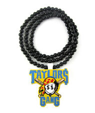 WOODEN WIZ KHALIFA TAYLOR$ GANG PENDANT PIECE CHAIN BEAD NECKLACE GOOD WOOD STYL