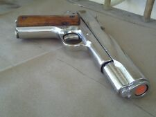 1911 Nickel Replica Metal Pistol 45 Colt Gun NON-FIRING Auto Gangster Denix Prop