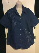 Womens Plus 18W XL 2X Alfred Dunner Blue Jean Button Down Shirt Short Sleeve Top