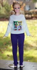 "Clothes for Curvy Barbie Doll. Blouse ""Mickey Mouse"" and Purple leggings for Dol"