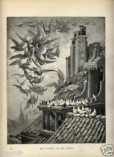 1880= FAVOLE DI LA FONTAINE= AVVOLTOI E PICCIONI = Antica STAMPA di G.DORÉ