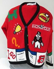 Vtg Monopoly Womens Red Cardigan Sweater SZ L