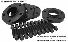 BMW Black Hub Centric Wheel Spacers Staggered Set (2) 10mm & (2) 15mm Black Bolt