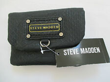 NWT STEVE MADDEN SOFT FLAP BLACK  FAUX LEATHER WALLET CELL  CASE RETAIL $44