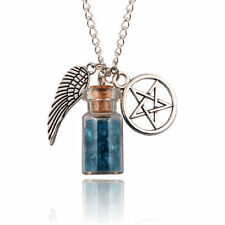USA -SUPERNATURAL PENTACLE ANGEL WING BLUE & WHITE BOTTLE SILVER PLATED NECKLACE