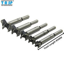 TASP 5PC Hole Saw Cutter Wood Forstner Drill Bit Set with Round Shank Wood Box