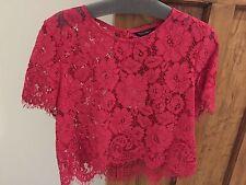 BNWT Tara Jarmon Lace Top In Fuschia Red - Size FR 40 / UK 10