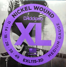 D'Addario EXL115 Electric Guitar Strings 3-Pack 11-49 - three sets