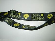 "MR MEN LITTLE MISTER HAPPY ROGER HARGREAVES KEY CHAIN ID CARD LANYARD 34"" STRAP"