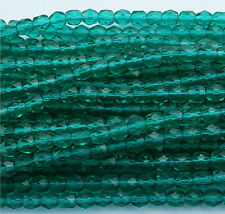 1200 PCS WHOLESALE 4mm CZECH GLASS FIRE POLISHED FACETED BEADS-EMERALD GREEN
