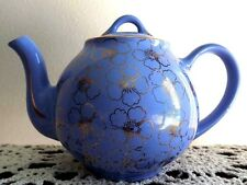 Hall Vintage 6 Cup Teapot Blue with Gold Floral Design 049 Height 5.75 inch USA