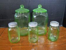 5 Vaseline Green Depression Glass Canister Jar lot set kitchen hoosier cabinet