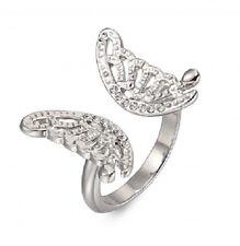 Luccicanti Argento farfalla di cristallo Anello - 18 mm-dimensione Q