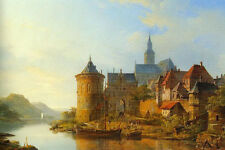 "Art Oil painting castle and church by river in sunset landscape canvas 24""x36"""