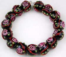 HANDMADE LAMPWORK BEADS Black Red Pink Flower Green Dot