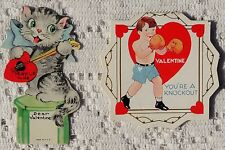 TWO VINTAGE 1939 VALENTINE GREETING CARDS - PLAY UP FOR ME - YOU'RE A KNOCKOUT
