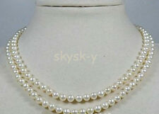 """Double Strand 4-4.5mm White AAA Akoya Pearl Necklace /17-19"""" 14k Fine Gift"""