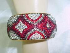 OMG Gorgeous Art Deco Vintage Red / Crystal Rhinestones Bangle not Celluloid1505