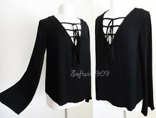 NEW Forever 21 Black OR Ivory Tie Lace-Up Bell Long Slvs BOHO Peasant Blouse Top