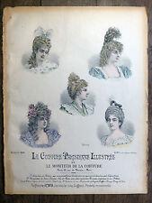 Lithographie LE MONITEUR DE LA COIFFURE 1898 MODE Coiffure Parisienne illustrée