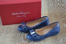 Salvatore Ferragamo Girls Navy Glitter Shoes Size EURO 29/12 EUC ITALY!