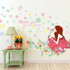 Bubble Girl Nursery Wall Stickers Decals Home Decor Art Removable Vinyl Murals
