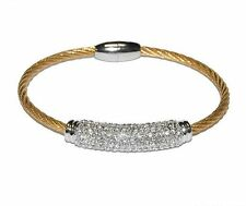 Pave Dome Barrel Clear AAA Cubic Zirconia Stackable Gold Rhodium Cable Bracelet