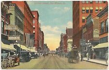 Scene on Walnut Street in Des Moines IA Postcard 1917