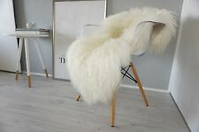 MONGOLIAN STYLE - GENUINE ICELANDIC SHEEPSKIN RUG - SOFT SILKY WHITE CURLY WOOL