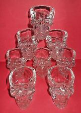 BRAND NEW ~ SET OF 8 DAN AYKROYD GLASS CRYSTAL HEAD VODKA SKULL SHOT GLASSES