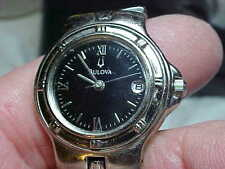 LADIES BLACK DIAL ALL S/S WATCH AND BAND QUARTZ MOVEMENT NEW BATTERY