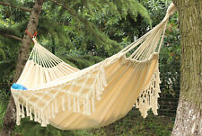 Portable lanyard outdoor hammock swing double cotton linen fringed Canvas Bed