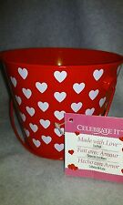 New Red With White Hearts Tin Pail
