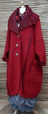 LAGENLOOK*OVERSIZE WOOL MIX BEAUTIFUL BALLOON 2 POCKETS LONG COAT*RED* XXL-XXXL