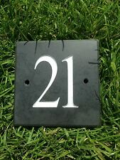 Slate House Number 100mm x 100mm up to 3 numbers ! FREE DELIVERY
