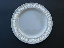"""CREAM COLOR ON GREY by WEDGWOOD EMBOSSED QUEEN'S WARE SMOOTH EDGE 8"""" PLATE ***"""