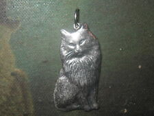 MADE IN USA SILVER TONE PERSIAN HIMALAYAN CAT KITTEN PENDANT CHARM NECKLACE