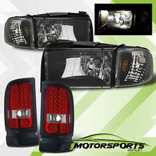 1994-2001 Dodge Ram 1500 2500 3500 Black Headlights with LED Tail Lights