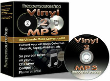 Convertir vinyl records/lps & cassettes 2 cd & MP3 10m plomb longueur kit + gratuit cd cadeau