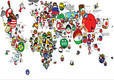 POSTER A4 PLASTIFIE-LAMINATED(1 FREE/1 GRATUIT)* CARTE DU MONDE. WORLD MAP.N°3.