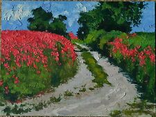 Red Weed Field Landscape Original Impressionist Oil Painting 12x16 Idkowiak