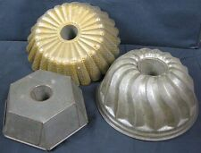 Lot of 3 Antique Tin Ware Cake Jello Pan Molds