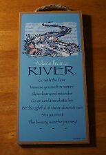 ADVICE FROM A RIVER - GO WITH THE FLOW Rustic Lodge Cabin Sign Home Decor NEW