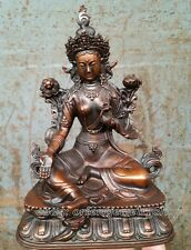 antique excellent china old bronze carved unique statue Tibet Green Tara Buddha